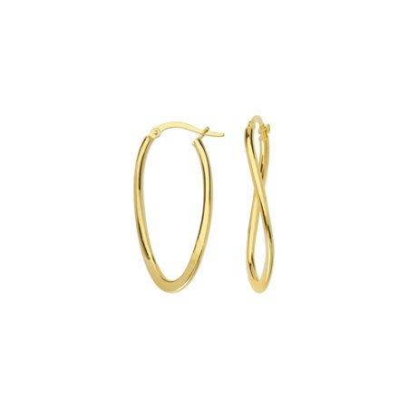 14k Yellow Gold Fancy Flat Tube Oval Hoop Earrings - 1.5 Grams