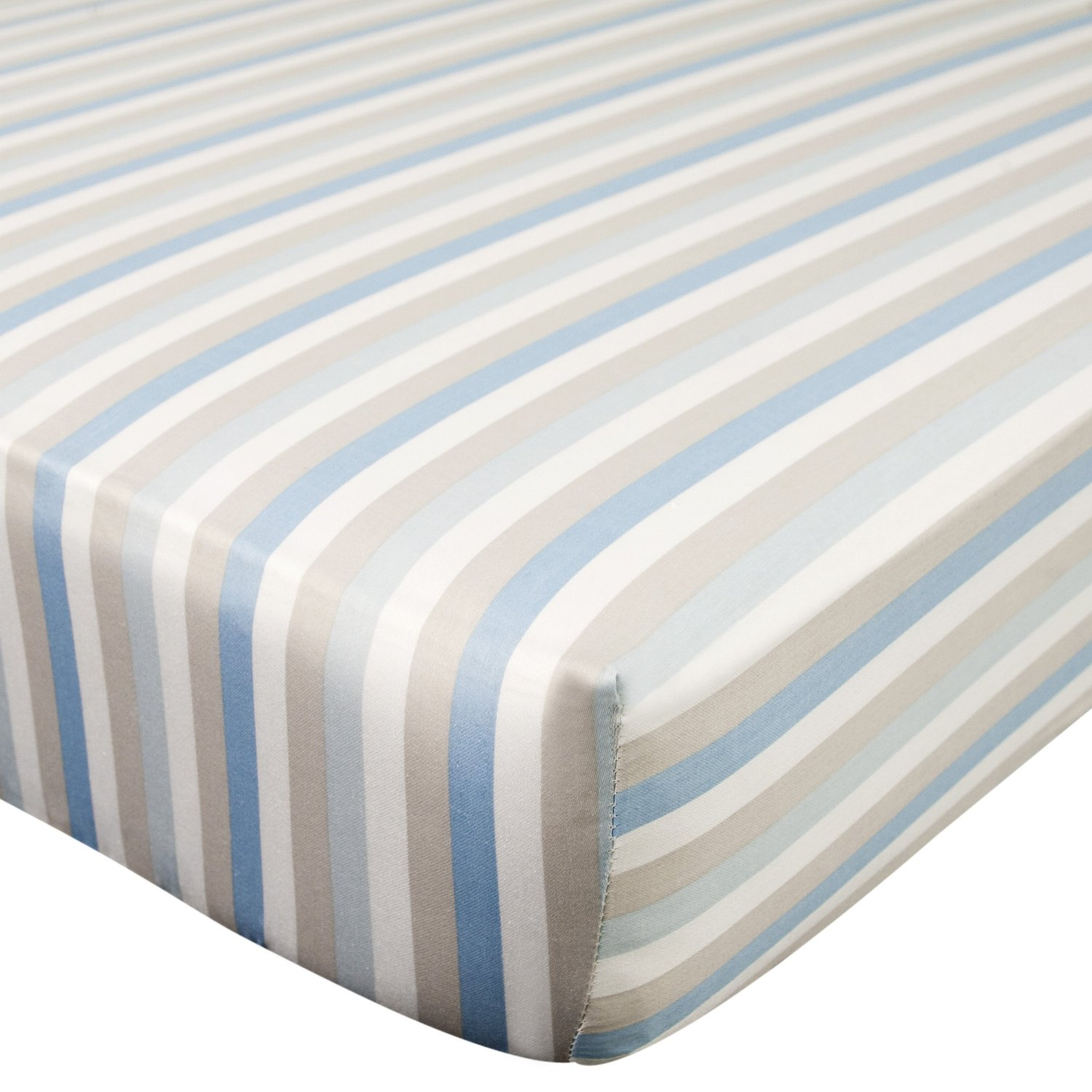 Carter's Cotton Crib Fitted Sheet, Blue White Gray Stripes