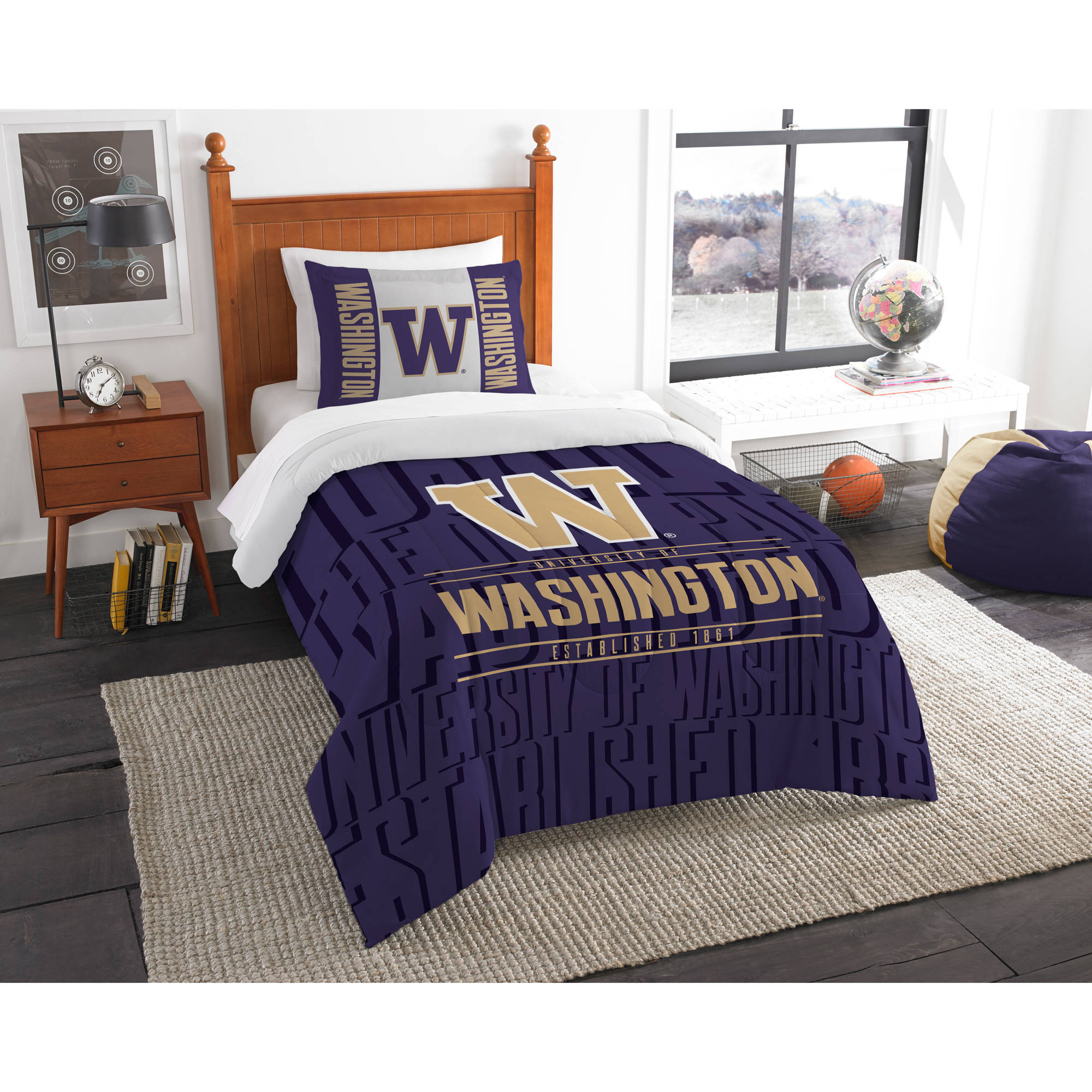 "NCAA Washington Huskies ""Modern Take"" Bedding Comforter Set"