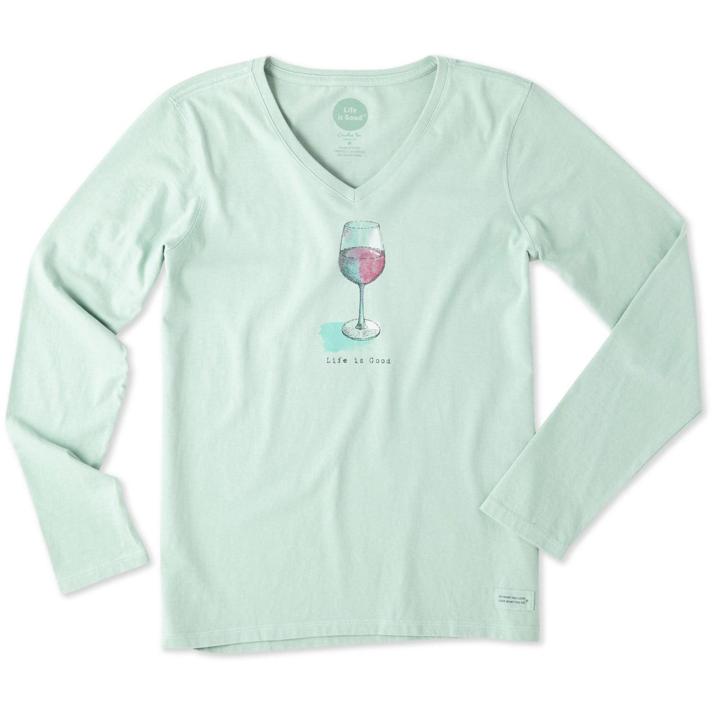 Life is Good Womens Half Full Wine Glass Vee Crusher Tee