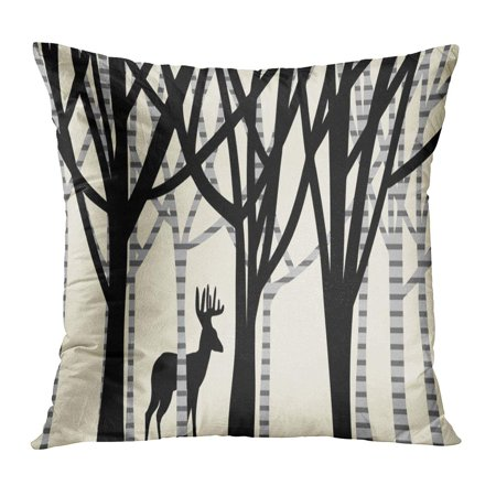 ECCOT Gray Abstract of Large Buck Deer Antlers in Woods Forest Layers Oak and Birch Trees Artsy Rural Landscape Pillowcase Pillow Cover Cushion Case 18x18 inch