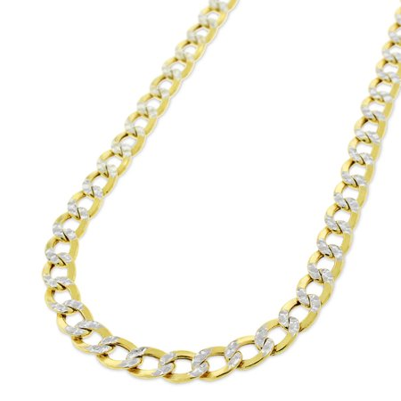 ReLex 10k Yellow Gold 5mm Hollow Cuban Curb Link Diamond Cut Two-Tone Pave Necklace Chain 18
