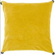 "18"" Velvet Poms Lemon Yellow Decorative Throw Pillow"