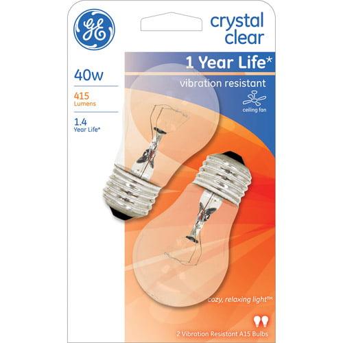 GE 40W Ceiling Fan A15 Clear Regular Base Bulb, 2-Pack
