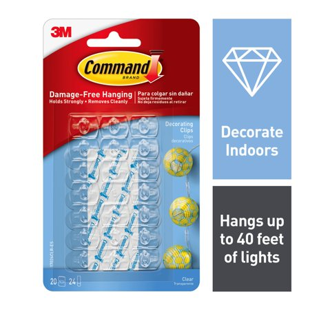Command Decorating Clip with 24 Adhesive Mini Strips, Clear, Pack of -