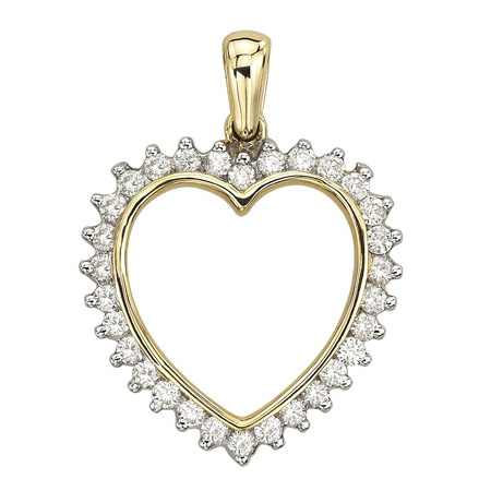 14K Yellow Gold 0.74ct Ultimate Pave Set Round Shaped Diamond Heart Necklace by Jewelrypot