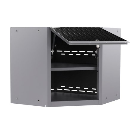 Newage Products Performance Plus 2 0 Diamond Plate Black Corner Wall Cabinet