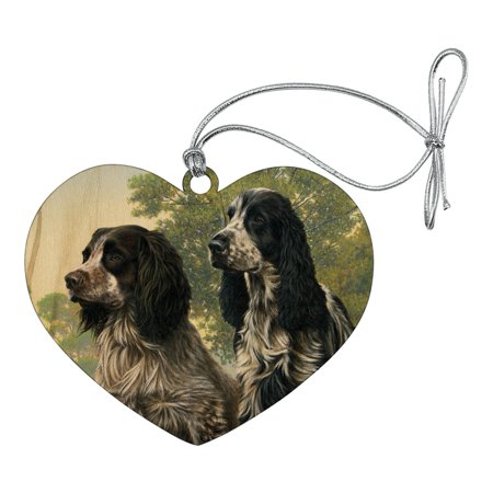 Pair of English Cocker Spaniel Dogs Heart Love Wood Christmas Tree Holiday Ornament