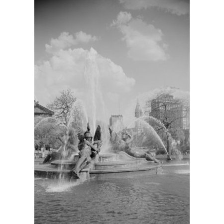 USA Pennsylvania Philadelphia Fountains at Logan Circle with midtown skyline in background Canvas Art -  (18 x 24)