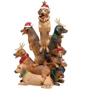 Dachshund Pile Cute Christmas Club Resin Statue