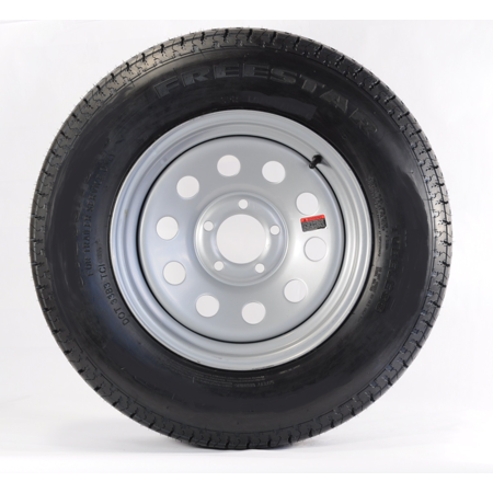 (Bolt-On Spare Trailer Tire On Rim 20575D15 15 in. 5 Lug Wheel Gray Grey Modular)