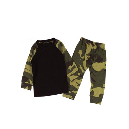 StylesILove Infant Baby Boy Camouflage Top and Pants 2-PCS Outfit (100/ 9-12 Months) - Halloween Costumes Age 9-12 Months