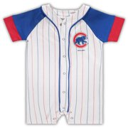 Chicago Cubs Newborn & Infant Little Slugger Striped Romper - White/Royal