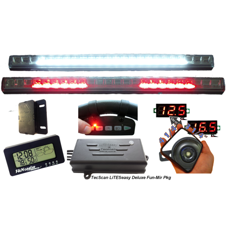 Golf Cart Lights, All-Signals Remote Control with Voltmeter Kit [DLX-FUN-MIR PKG] by