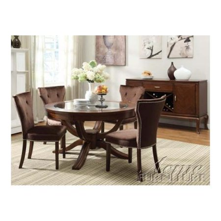 60022 kingston round pedestal dining table brown