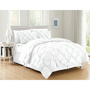 Silky Soft  Pintuck Bed-in-a-Bag 8-Piece Comforter Set --HypoAllergenic - Full/Queen, White