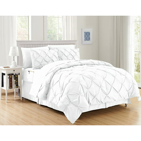 Silky Soft  Pintuck Bed-in-a-Bag 8-Piece Comforter Set --HypoAllergenic - Full/Queen, White ()