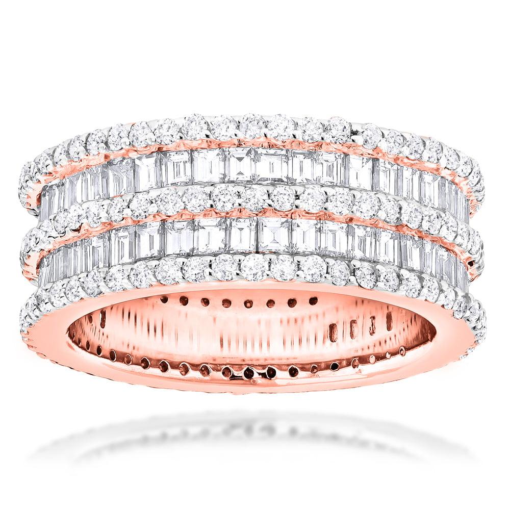 Luxurman Designer Eternity Ring 14K Round Baguette Natura...