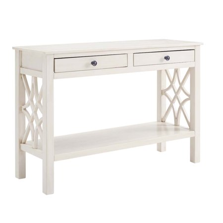 Linon Whitley Console Table, Antique White, with 2 Easy Glide