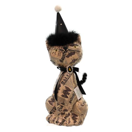Halloween DECOUPAGE CAT Fabric Newspaper Bats Figurine FGH70149 - Halloween Cat Fabric
