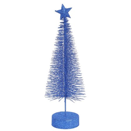 """Pack of 2 Lavish Blue Glitter Sisal Artificial Table Top Christmas Trees 8"""""""