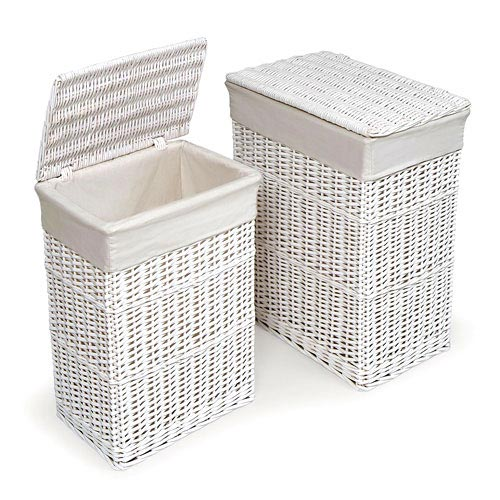 Badger Basket 2-Hamper Set, White by Badger Basket Company