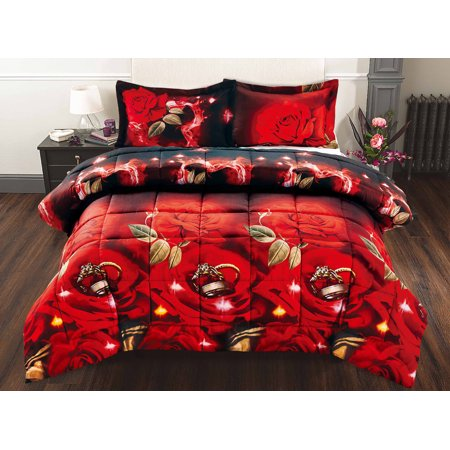 Unique Home 3 Piece Set Red Rose and Rings Soft 3D Bed In A Bag Clearance bedding Comforter Duvet Set Fade Resistant, Super Soft, Y02 (Queen)