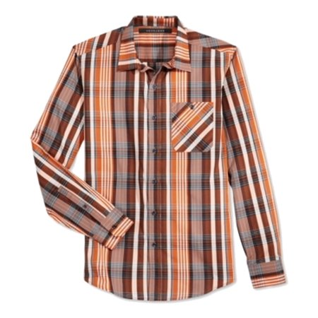 Sean John Mens Plaid Long Sleeves Casual Shirt Brown (Casual Men Xl)