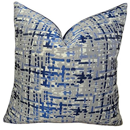 """Plutus Abstract Plaid Handmade Throw Pillow, (Double sided 24"""" x 24"""") - image 2 of 2"""