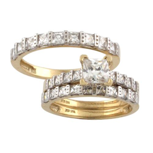 10k Gold Princess-cut Cubic Zirconia Matching His and Hers Bridal-style Ring Set Womens 7, Mens 9