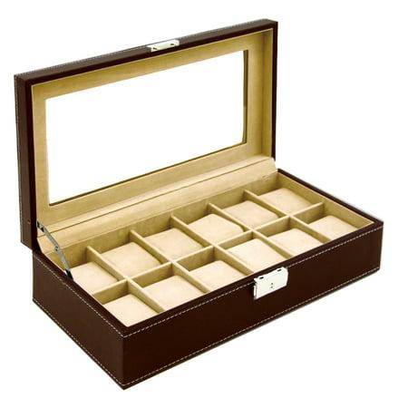 Watch Box Large 12 Mens Chocolate Hinge Leather Display Glass Jewelry Organizer