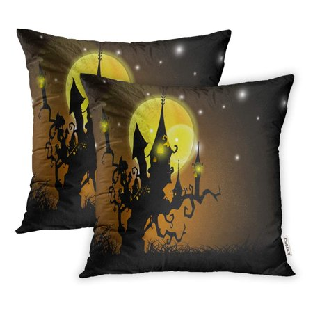 ARHOME Witch Halloween Full Moon Night Haunted House on Dead Tree Cartoon Cute Pillowcase Cushion Cover 16x16 inch, Set of - Halloween Full Moon Cartoon