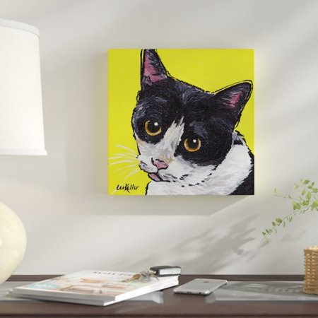 Winston Porter 'Cat Tuxedo' Acrylic Painting Print on Wrapped - Cat Face Painting