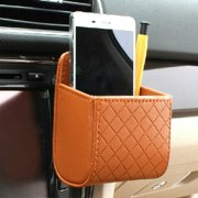 Yosoo Car Auto Seat Back Interior Air Vent Tidy Storage Coin Bag Case Organizer Cellphone Holder Pounch Box with Hook (Brown)