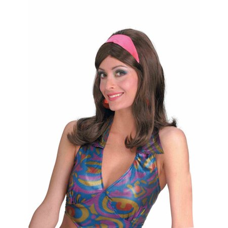 60s Go-Go Brown Adult Halloween Costume Accessory Wig (Brown Hair Wig Halloween)