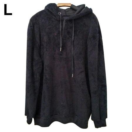 Women's Oversized Sherpa Pullover Hoodie with Pockets 1/4 Zip Sweatshirt , Black Back Zip Sweatshirt