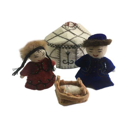 The Holiday Aisle 4 Piece Felt Yurt Nativity Set