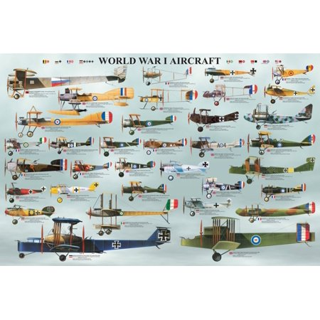 Laminated World War I Aircraft Poster 36 X 24In     By Eurographics Ship From Us