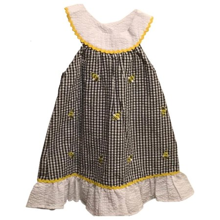 Emily Rose Baby Girls Size 4T (Toddler) Bumblebee Dress, Black & White Checkered (Checkered Flag Dress)