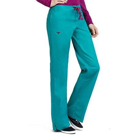 Real Sangria - Med Couture Signature Women's Back Elastic Scrub Pant Real Teal/Sangria L