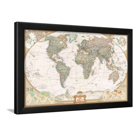 German Executive World Map Framed Print Wall Art By National