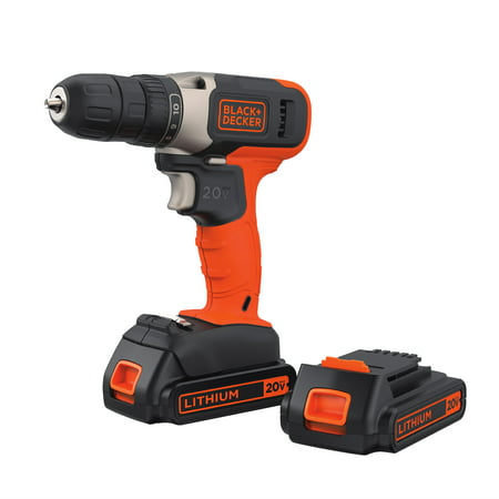 BLACK+DECKER 20-Volt MAX* Lithium Cordless Drill With 2 Batteries, BCD702C2BWM ()