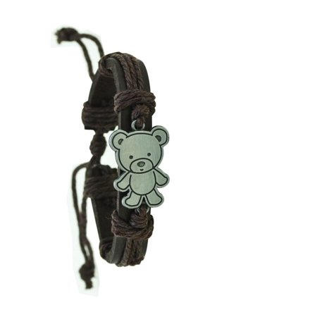Genuine Leather Teddy Bear Adjustable Cute Bracelet with Teddy Bear, Jewl:P0179