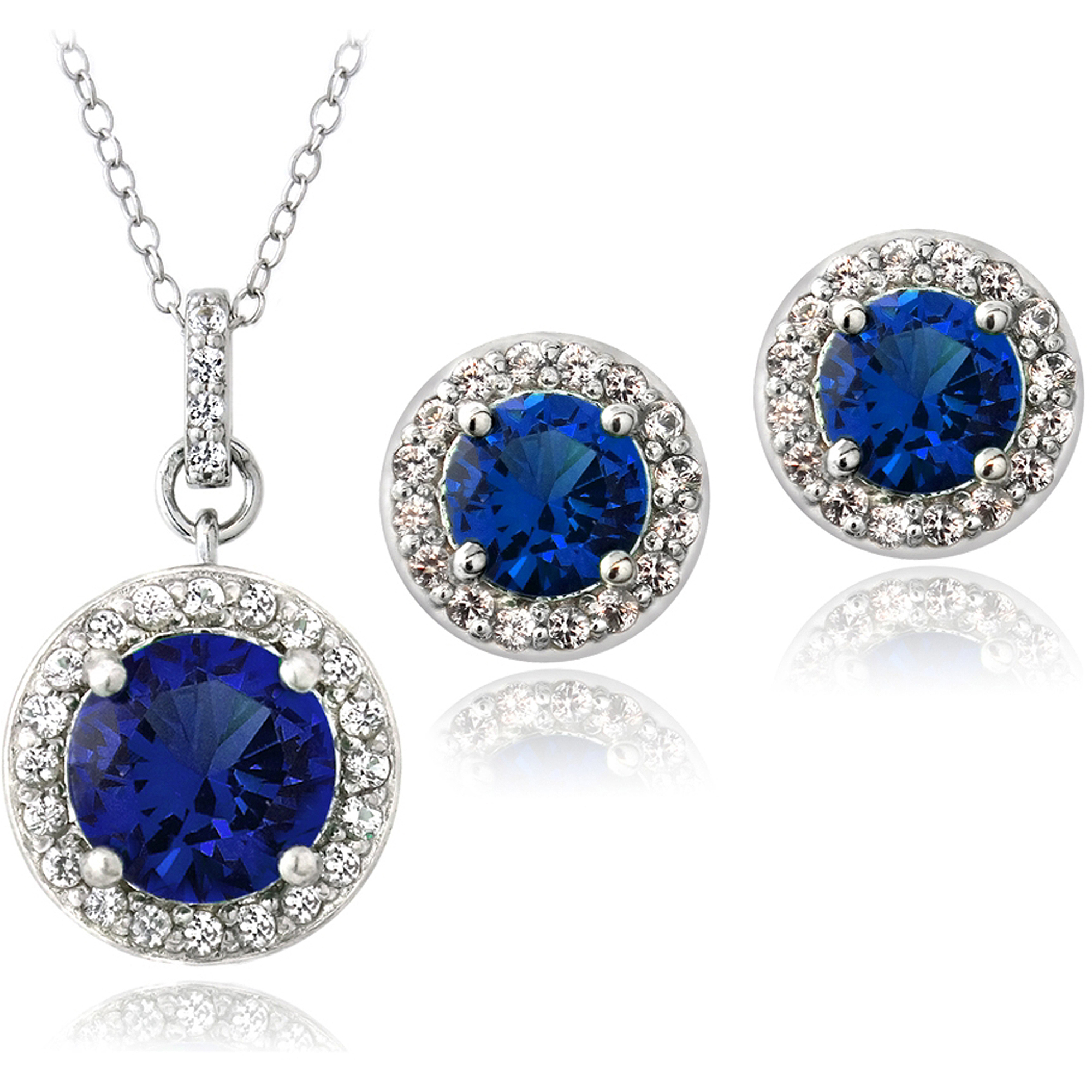 5.25 Carat T.G.W. Created Blue and White Sapphire Sterling Silver Round Stud Earrings and Necklace Set