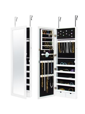 Product Image Best Choice Products Mirrored Hanging Jewelry Cabinet Armoire Organizer Over Door Wall Mount W Keys
