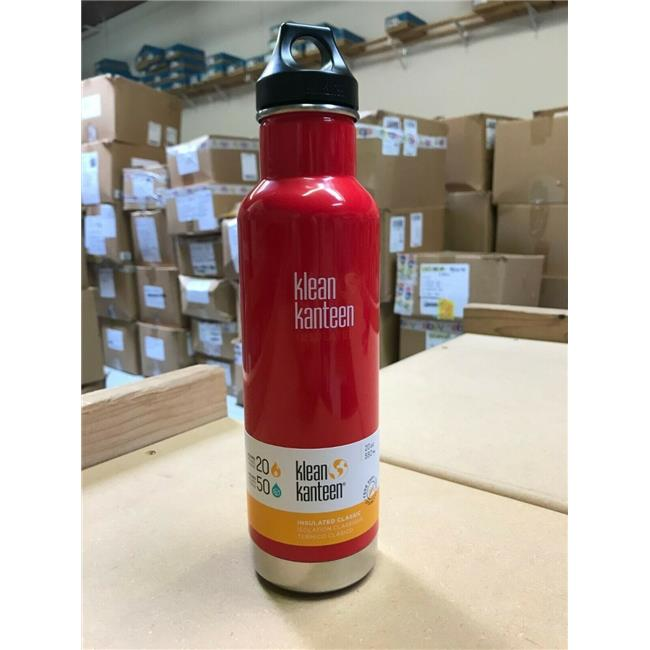 Klean Kanteen 1003108 20 oz Classic Stainless Steel Double Wall Insulated Water Bottle with Loop Cap, Mineral Red