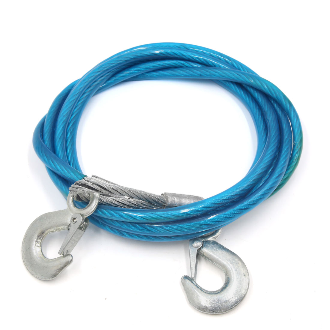 3 Tons Pull Capacity 3.5M Long Steel Car Tow Cable Towing Strap Rope w Hooks