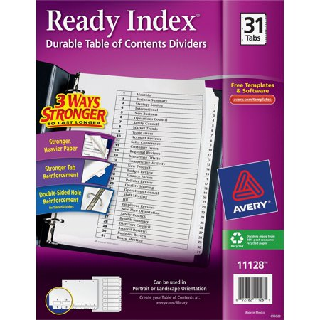 Avery Ready Index Classic Tab Titles, 31-Tab, 1-31, 8.5 X 11 Inches, Black/White, 31 per Set