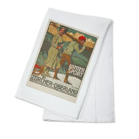 Winter Sport - Zurcher - Oberland Vintage Poster (artist: Marxer) Switzerland c. 1920 (100% Cotton Kitchen Towel)](Zurchers Hours)