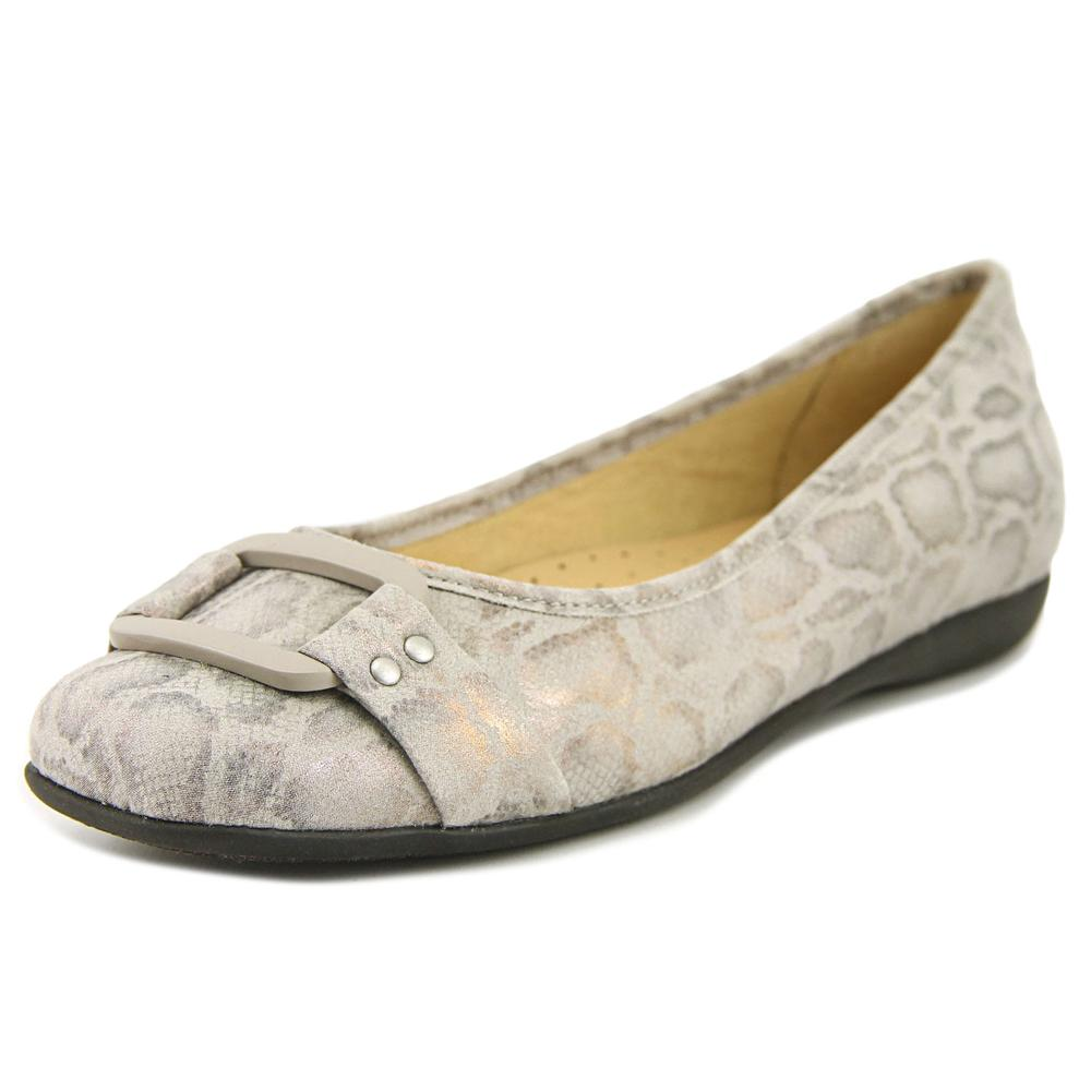 Trotters Sizzle Signature Women Round Toe Canvas Gray Flats by Trotters